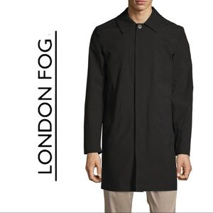 London Fog Trench Coat Black Button Front 42R